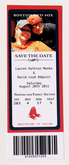 "DEPOSIT -- Baseball Ticket Save the Date Photo Card ""Team Spirit"". $75.00, via Etsy."