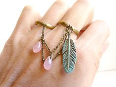 Pastel Blue green double ring  feather pink drop by liliFunambule, €15.00
