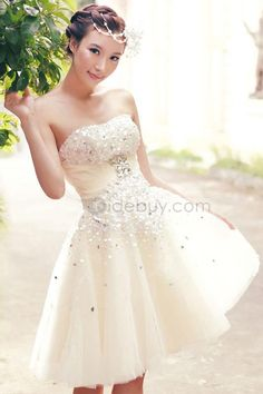 Chic Beads Strapless A-Line Summer Beach Wedding Dress & amazing Wedding Dresses Cheap Wedding Dresses Online, Wedding Dresses 2018, Wedding Bridesmaid Dresses, Prom Dresses, Event Dresses, Dress Wedding, Amazing Wedding Dress, Dress Images, Dress Shirts For Women
