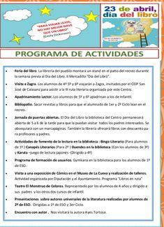 Programa de actividades de la biblioteca del CEIP Andrés Manjón de Algarinejo