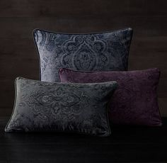 Velvet Medallion Pillow Covers (Slate Blue, Indigo)