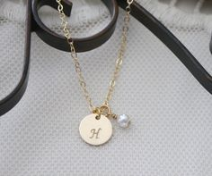 Tiny Initial Necklace, Gold Filled Necklace, Initial Birthstone, Personalized Necklace, Letter H, Mother's Necklace, Dainty Necklace, Custom