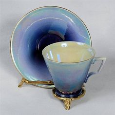 ROYAL WINTON BLUE LUSTREWARE TEACUP & SAUCER