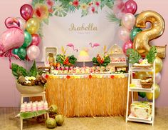 "Hawaiian Flamingo / Birthday ""Isabella's Party"" 