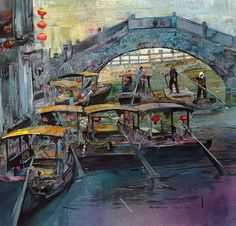 John T Salminen – Water Taxis – watercolor