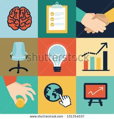 Vector business and office icons and illustrations - start up concept in flat retro style by venimo, via Shutterstock