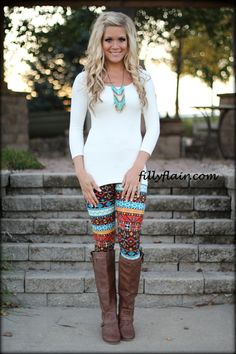 6e2690b7fb7 crazy printed pants are perfect with boots and a solid top! leggings are  not pants