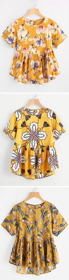 All Over Graphic Print Smock Blouse.
