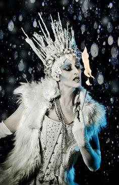 Stunning Ice Queen fire performer.