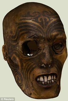 """ancientart: """"The famous tattooed and preserved head of a Maori warrior. The Rouen Museum of Natural History in France formally returned this artifact to the delegation of elders, New Zealand Embassy. Ta Moko Tattoo, Maori Tattoos, Eye Tattoo Meaning, Statues, La Danse Macabre, Bog Body, Voodoo, Henna, Shrunken Head"""
