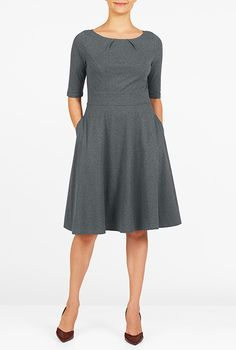 2c3f57d6cb527 I  lt 3 this Pleat neck melange knit dress from eShakti Modest Dresses