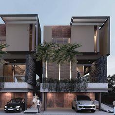 No photo description available. Townhouse Designs, Duplex House Design, House Front Design, Modern House Design, Facade Design, Exterior Design, Amazing Architecture, Modern Architecture, Contemporary Building