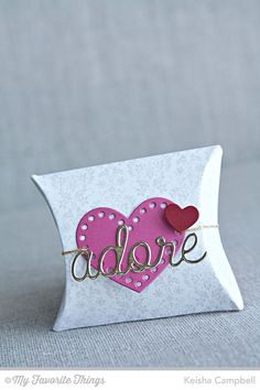 Damask Background, Love and Adore You Die-namics, Square Pillow Box Die-namics, Stitchable Heart STAX Die-namics - Keisha Campbell #mftstamps