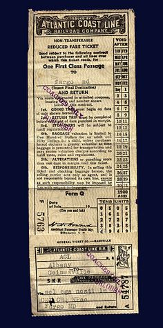 A one way, coach fare ticket on the Atlantic Coast Line Railroad (ACL) from Gainesville, Florida to Fargo, North Dakota, June 13, 1943 by thstrand, via Flickr