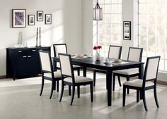 Black And Modern Dining Room Table best theme black dining room sets 5 piece dining set Formal Dining Tables, Solid Wood Dining Table, Elegant Dining, Dining Table Chairs, Side Chairs, Room Chairs, Black Dining Room Table, Kitchen Tables, Kitchen Dining