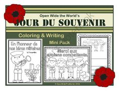 French Coloring & Writing Remembrance / Veterans Day Mini Pack from Open Wide the World on TeachersNotebook.com - (9 pages) - Observe Remembrance Day (aka Veterans Day or Jour du Souvenir) in your French immersion/dual language immersion programs with this mini pack of coloring sheets, writing papers, and a bubble map. Core French, French Class, French Lessons, French Education, Kids Education, Remembrance Day Activities, Language Immersion, Teaching Themes, Dual Language