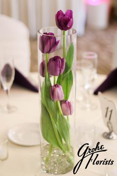 #purple #tulips #submerged #centerpieces