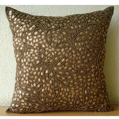 Decorative Throw Pillow Covers 16x16 Brown Silk Textured Gold Leaves Embroidered Pillow Covers Accent Pillows Couch Sofa Pillows Gold Leaves.