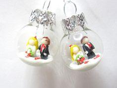 Brautschmuck - Brautpaar Ohrringe - ein Designerstück von Kleine-Knetwelt bei DaWanda
