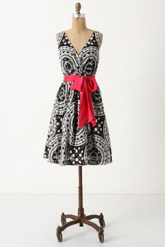 Wow.  This is a great dress by Anthropologie!  I love, love, love the pop of color against this print.