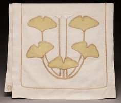 Gustav Stickley Ginkgo Leaf Design Table Scarf, Number 915. Designed by Louise Shrimpton. Manufactured by Craftsman Workshops. Overlayed and Embroidered Linen. Circa 1904. Crab Tree Farm Collection.