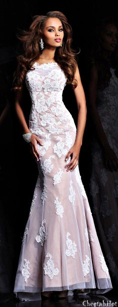 SHERRI HILL - Lacy Long Gown
