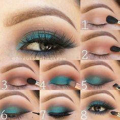 Emerald brown eye makeup tutorial for hazel and brown eye color in #evatornadoblog