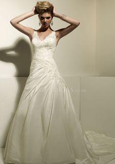 A line V Neck Taffeta & Lace Floor Length Chapel Train Wedding Dress With Ruching