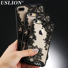 Phone Case For iPhone 7 7 Plus 6 6s Plus 5 5s SE Retro Lace Lotus Flower Beautiful Hard PC Mobile Phone Case Back Cover Bags