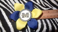 Sporty Bottlecap Flower NCAA Michigan Wolverines Logo Hair Bow ~ Free Shipping Price: $4.00