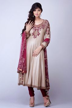#Cream & Maroon Colored #Anarkali Suit  Check out this page now :-http://www.ethnicwholesaler.com/salwar-kameez
