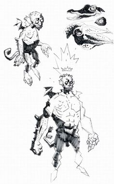 allthingshellboy: Mike Mignola's demon sketches (click for...