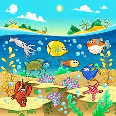 Cartoon Marine Animals Vector   Free Vectors, Free Design   sea life   Pinterest ...
