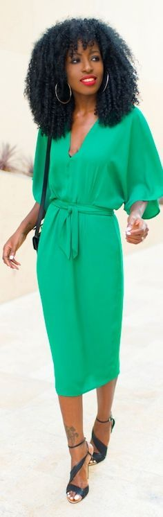 Asos Green Kimono Wrap Pencil Midi Dress by Style Pantry