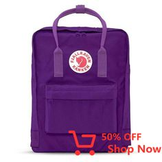 """Fjallraven Kanken Classic Backpack With the Swedish mantra in mind, """"Straight backs are happy backs,"""" Fjällräven created the first Kånken in 1978 to spare the backs of school children, as back probl. School Backpacks, Kanken Backpack, Backpacker, Luggage Bags, Boards, Unisex, Purple, Classic, Animals"""
