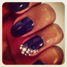 Navy Diamond & Pearls Nails