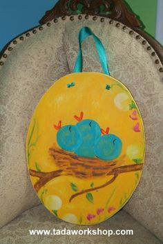Hungry Baby Blue Birds   Vintagestyle handpainted by tadaworkshop, $32.00