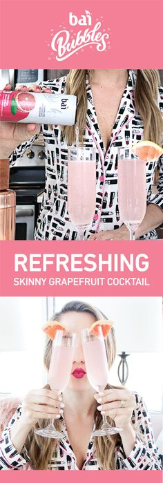 Skinny Grapefruit French 75 Why compromise your healthy habits during your relaxing weekend? Bai® Bubbles in Gimbi Pink Grapefruit is. Party Drinks, Cocktail Drinks, Fun Drinks, Cocktail Recipes, Alcoholic Drinks, Beverages, Drink Recipes, Grapefruit Cocktail, Pink Grapefruit