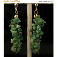 ON SALE Jade Chip 1980s Vintage Pierced Dangle Earrings ($10) ❤ liked on Polyvore featuring jewelry and earrings