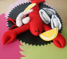 Seafood Platter, Oysters, Lobster & Prawns - Australian Felt Play Food Set - by FeltFunny on madeit
