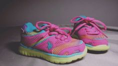 Toddler Girls Sz 6 US Polo Assn Sneakers Shoes Multi Color Pink Yellow Teal #USPoloAssn #Everyday