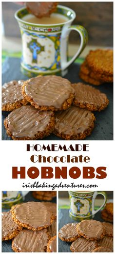 Chocolate coated homemade hobnob-biscuits These irresistible homemade Chocolate Hobnobs are so easy to bake ans taste even better than shop bought ones. Perfect with a cuppa! Hobnob Biscuits, Chocolate Hobnobs, Keks Dessert, Cookie Recipes, Dessert Recipes, Baking Recipes Uk, Baking Snacks, Baking Recipes, Treats
