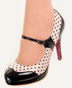 MARY JANE Polka Dot Shoes by Banned 50s Rockabilly Retro Heels NUDE Beige BLACK