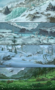 Scenario Inspiration: Icy Glacier - Frozen Lake and Island - Snowy Forest - Green Valley and Pool Fantasy Art Landscapes, Fantasy Landscape, Landscape Art, Fantasy Concept Art, Fantasy Artwork, Dark Fantasy, Environment Concept, Environment Design, Game Environment