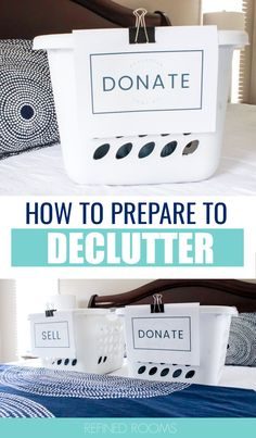Ready to declutter your home room by room? Start by working through this 5-step decluttering prep plan. Before you start decluttering, it's important to get your ducks in a row by completing these crucial steps (including creating a donation station and a Declutter Tool Kit). Roll up your sleeves and let's get started! Declutter Your Home, Organizing Your Home, Organizing Tips, Organising, Small Space Organization, Home Organization Hacks, Getting Rid Of Clutter, Getting Organized, Home Command Center