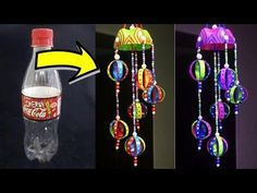 DIY Wind Chime Using Plastic Bottle - Easy Best Out of Waste Wind Chime Idea - Home Decor,Plastic Bottle Craft Idea,Homemade wind chimes ideas, Wind chime ou. Water Bottle Crafts, Reuse Plastic Bottles, Plastic Bottle Crafts, Plastic Bottle Decoration, Plastic Waste, Carillons Diy, Crafts To Do, Diy Crafts, Garden Ideas Diy Cheap