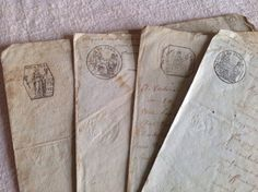 Antique French Letters / Old Legal Documents. Paper Ephemera Scrap Books Supplies 1800s Graphic Design & Scrap Books by BrocanteArt on Etsy