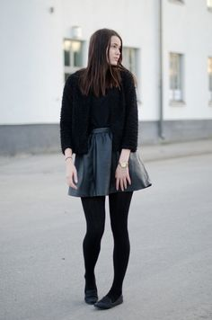 Girly faux leather skirt outfit with furry cardigan, all black outfit