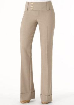 STRETCH low-rise flare pant fits slim through thigh with three-button extend-tab closure and cuffed hem.