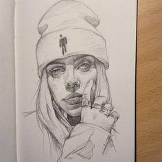 A pencil sketch of Billie Eilish Art Drawings Beautiful, Cool Art Drawings, Pencil Art Drawings, Art Drawings Sketches, Sketch Art, Billie Eilish, Arte Sketchbook, Celebrity Drawings, Art Reference